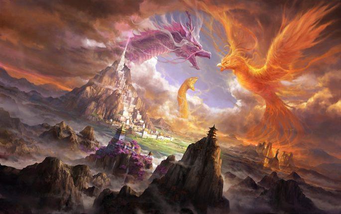fantasy-dragon-fighting_Phoenix_snake