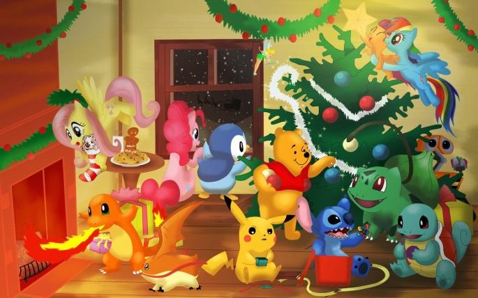 498805_safe_rainbow_dash_pinkie_pie_fluttershy_scootaloo_crossover_pokemon_christmas_disney_digimon-png