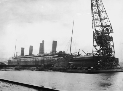 The liner Titanic in dry dock at the Harland and Wolff shipyard, Belfast, February 1912. (Photo by Topical Press Agency/Hulton Archive/Getty Images)